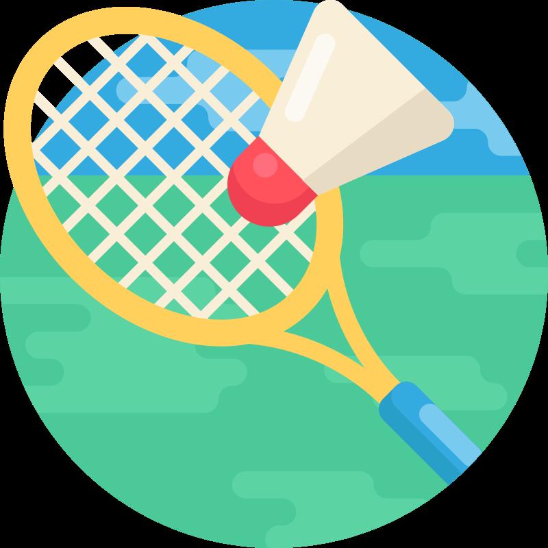 Glosario de Bádminton: deporte de raqueta en el que se enfrentan dos jugadores (individuales) o dos parejas (dobles) situadas en las mitades opuestas de una pista rectangular dividida por una red.