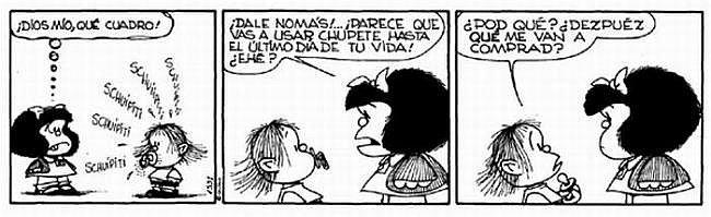 Viñeta humorística de Mafalda donde Quino (su creador) emplea cacografías cuando habla el bebé.