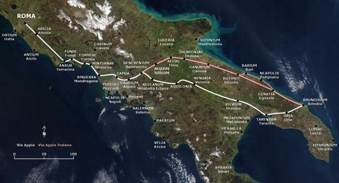 Mapa de la vía Apia
