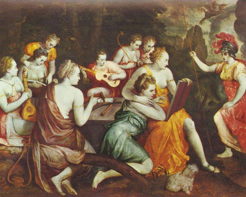 Atenea en las Musas de Frans Floris de Vriendt (1519/1520–1570)