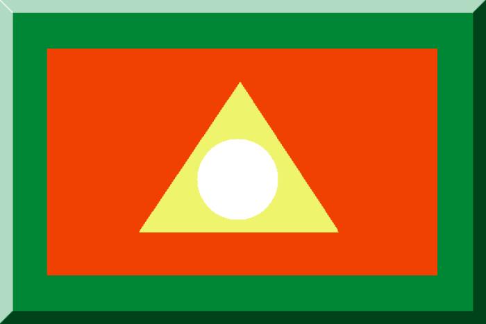 Cuadrado naranja bordado de verde con un triángulo amarillo circunscripto a un círculo blanco
