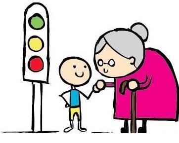 El comedido niño ayuda a la anciana a cruzar la calle.