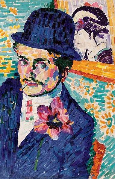 divisionismo: L homme à la tulipe de Robert Delaunay del año 1906. Retrato de Jean Metzinger