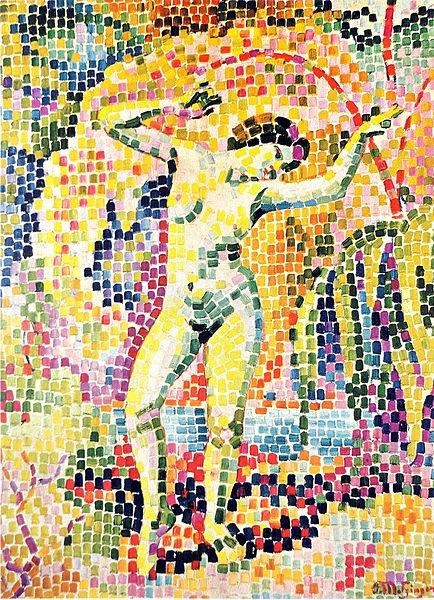 divisionismo: La Dance (Bacchante) de Jean Metzinger del año 1906. Presente en el museo Rijksmuseum Kröller-Müller, Otterlo, Países Bajos.