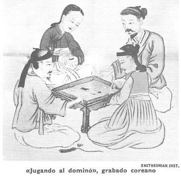 Jugando al dominó: grabado coreano