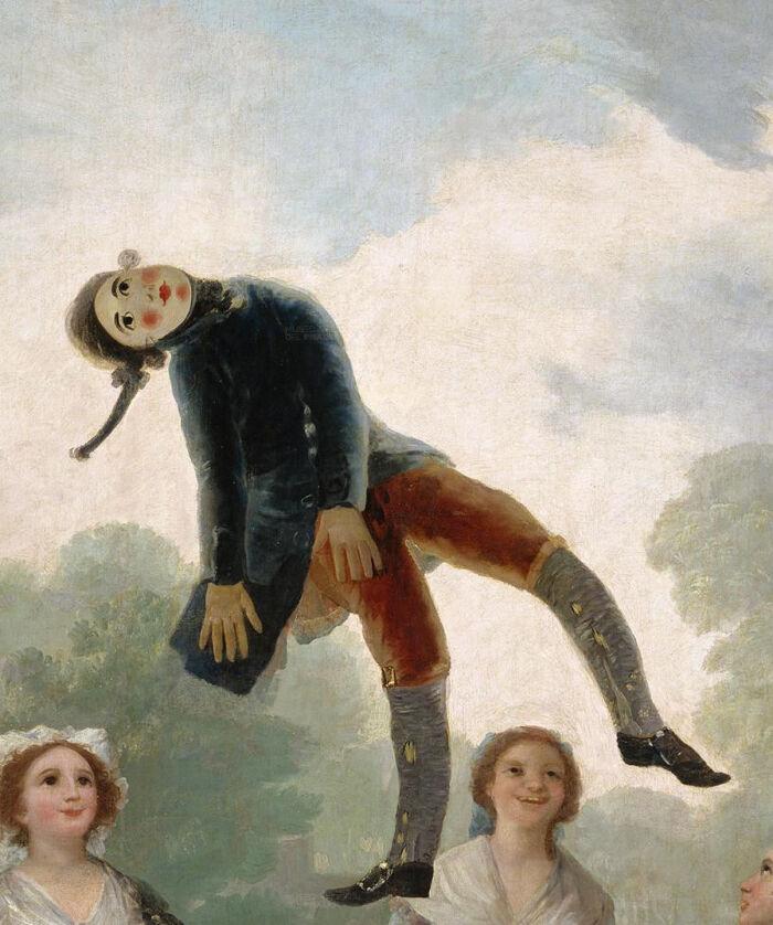 Acercamiento del pelele en el cuadro de Goya