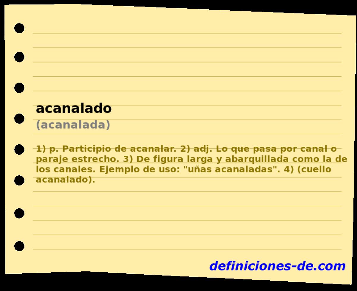 Qué significa Acanalado (acanalada)?