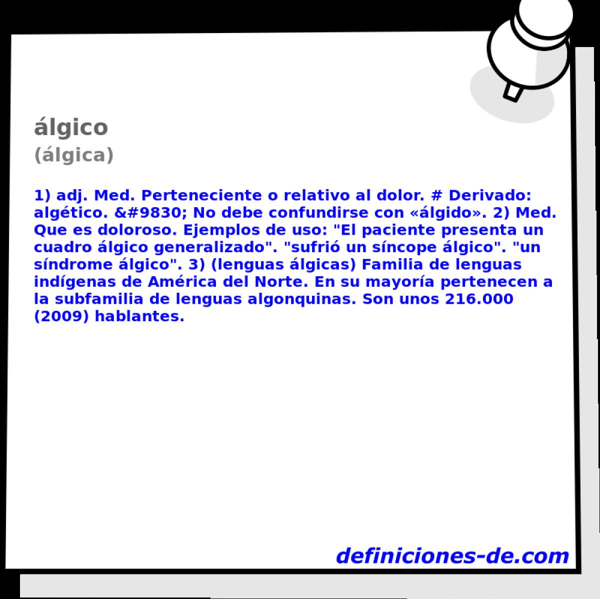 Qué significa álgico (álgica)?
