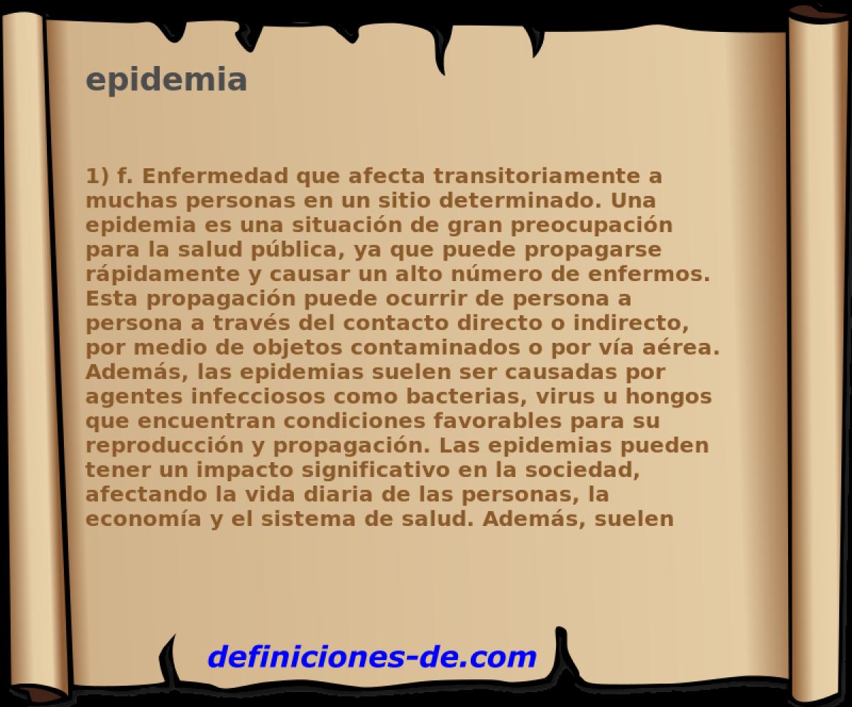 Qué significa Epidemia?
