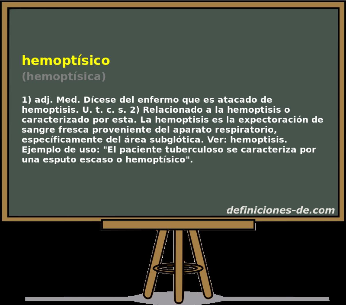 Qué significa Hemoptísico (hemoptísica)?