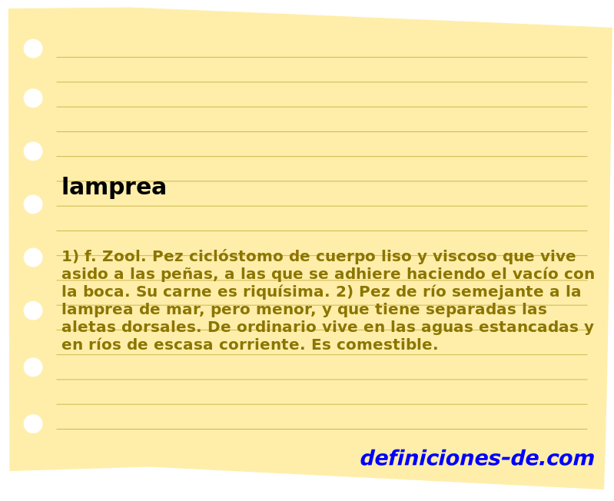 Qué significa Lamprea?