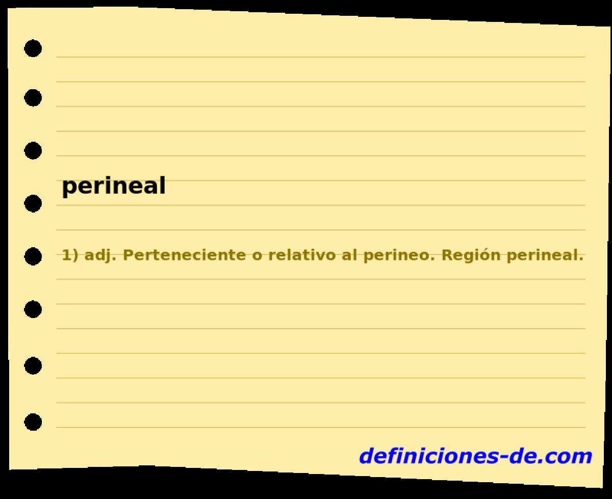 Qué significa Perineal?