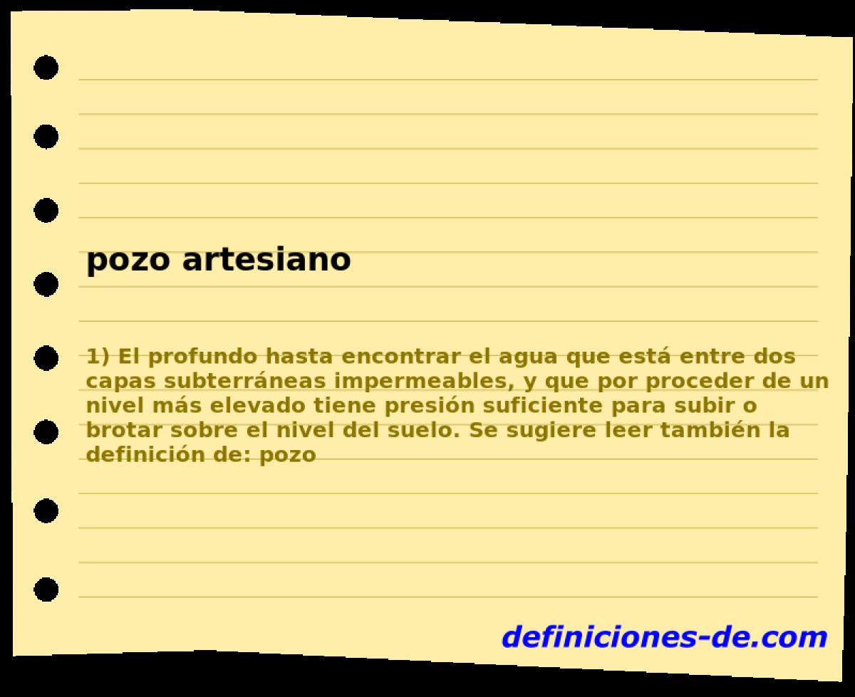 Qué significa Pozo artesiano?