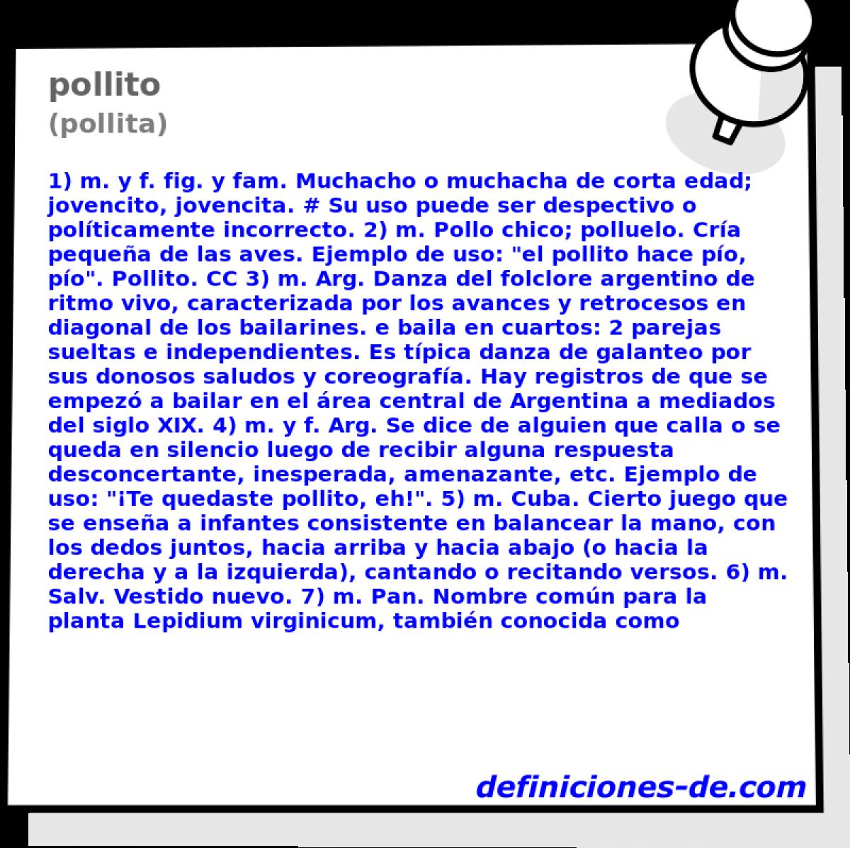 Qué significa Pollito (pollita)?