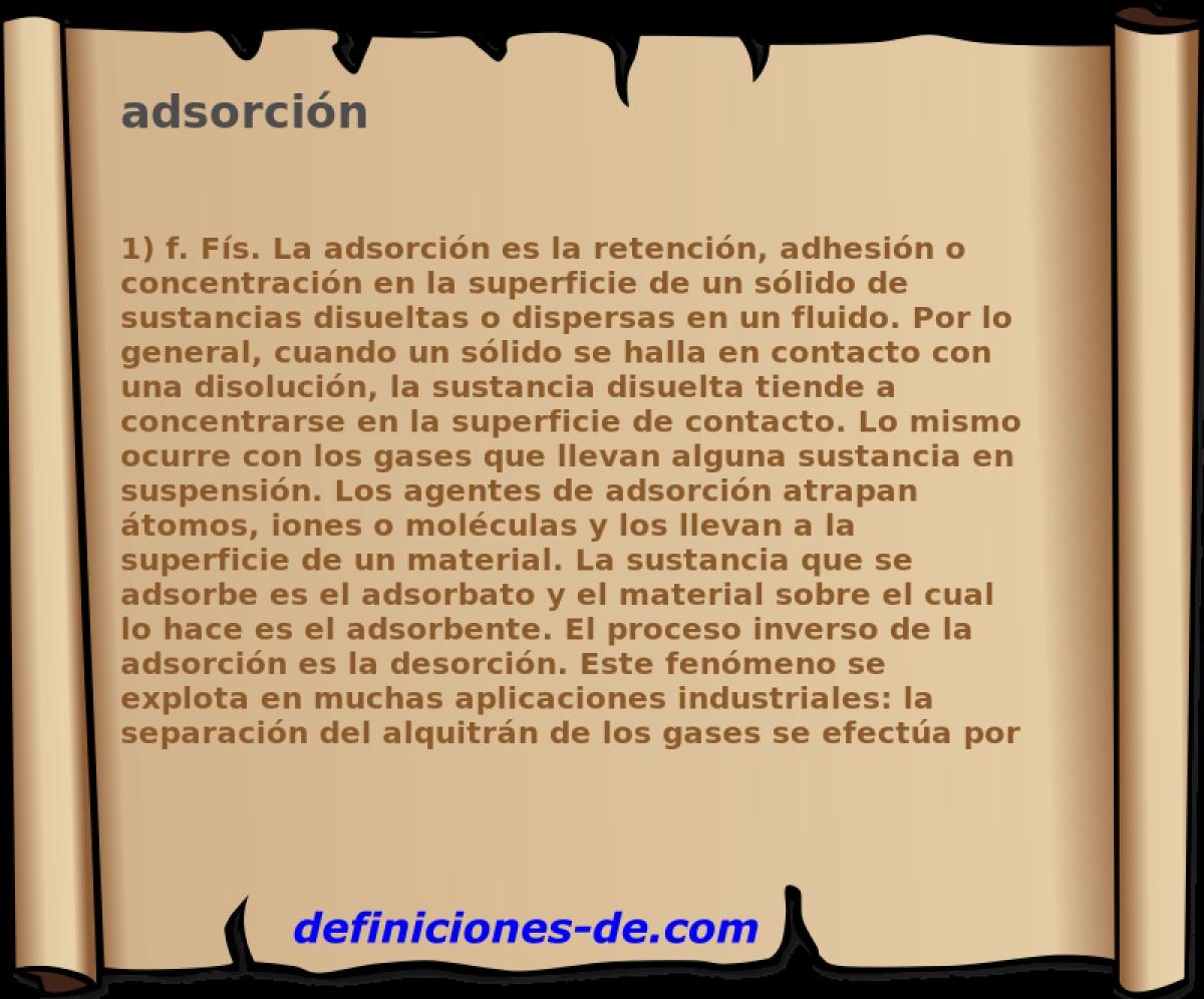 Qué significa Adsorción?