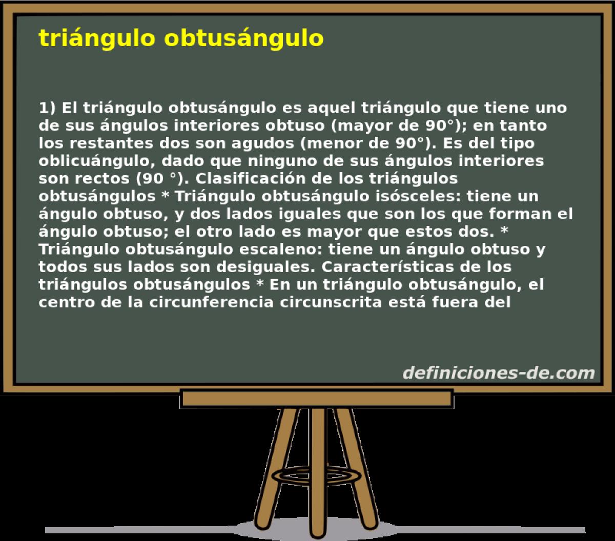 Qué significa Triángulo obtusángulo?