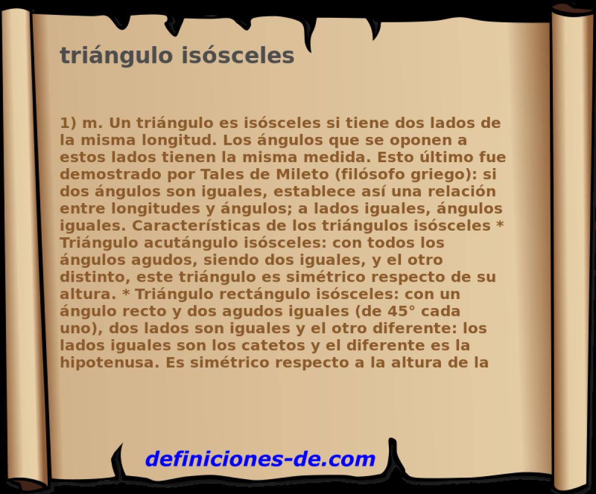 Qué significa Triángulo isósceles?