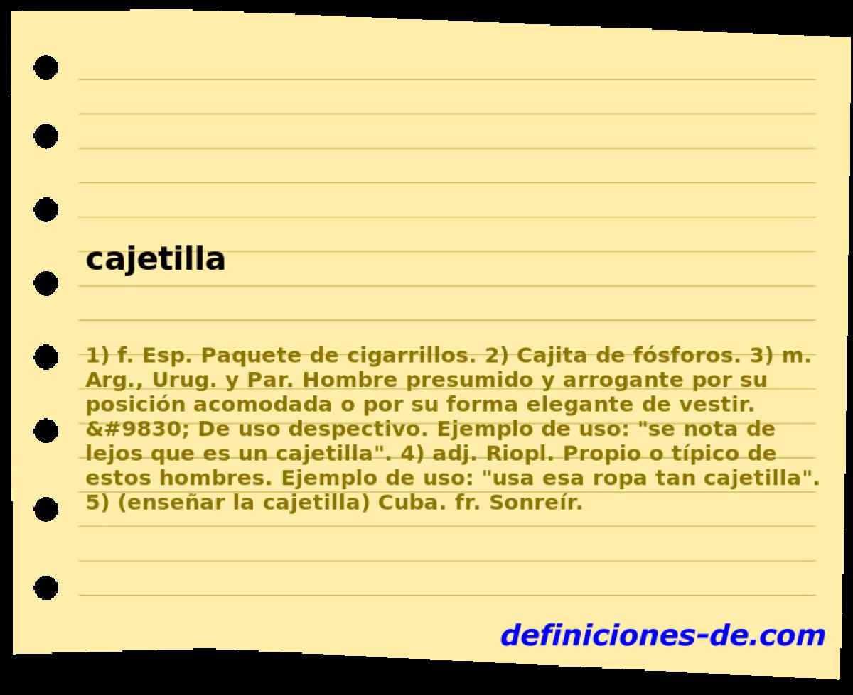 Qué significa Cajetilla?